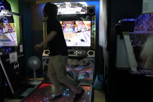 Japanese dance arcade in a arcade hall in Tokyo