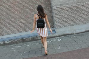 I got it from Japan: Forever21 striped button-front dress, black backpack from Japan, ORiental TRaffic ankle-strap wedges